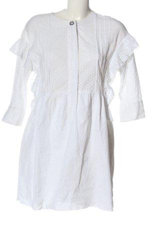 Zara Basic Langarmkleid weiß abstraktes Muster Casual-Look
