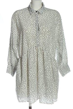 Zara Basic Langarmkleid weiß-schwarz Punktemuster Casual-Look