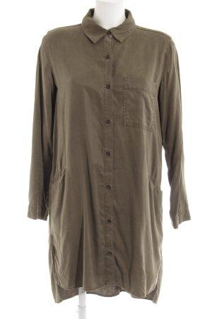 Zara Basic Langarmkleid khaki-olivgrün Casual-Look