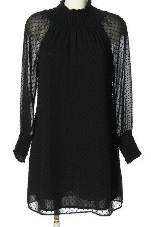 Zara Basic Langarmkleid schwarz Allover-Druck Elegant