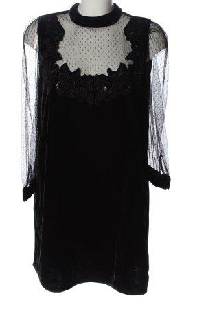 Zara Basic Langarmkleid schwarz Punktemuster Casual-Look
