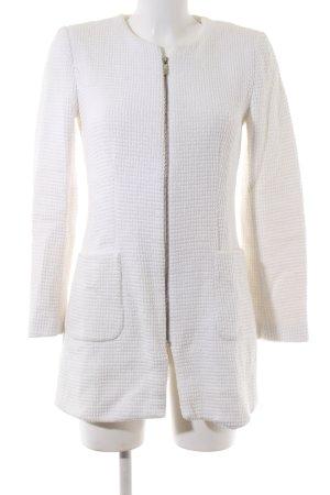 Zara Basic Veste longue blanc motif graphique style d'affaires