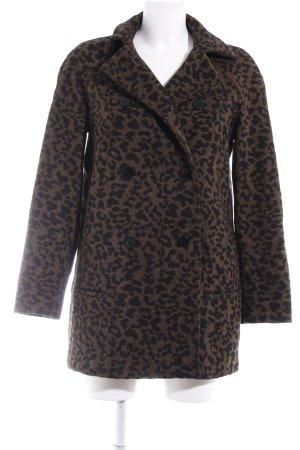 Zara Basic Lange Jacke schwarz-hellbraun Leomuster Animal-Look