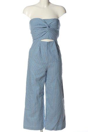 Zara Basic Langer Jumpsuit blau-weiß Streifenmuster Casual-Look