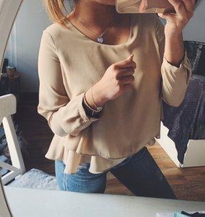 Zara Basic Layering Chiffon Bluse beige creme Gr. S