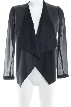 Zara Basic Leder-Blazer schwarz Transparenz-Optik