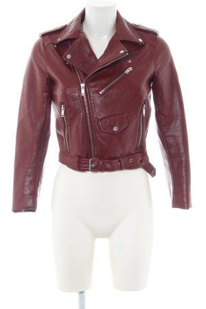 Zara Basic Leren jack rood casual uitstraling