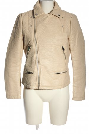Zara Basic Lederjacke wollweiß Casual-Look