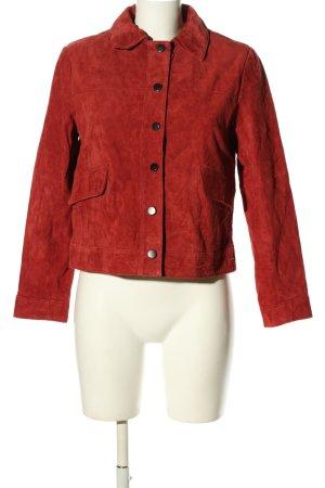 Zara Basic Lederjacke rot Casual-Look