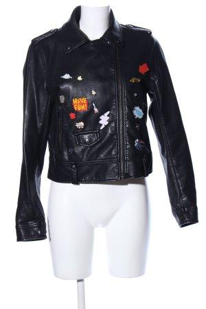 Zara Basic Leren jack zwart prints met een thema extravagante stijl