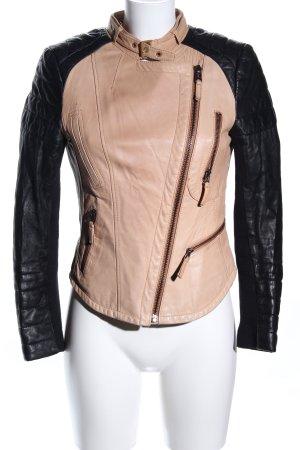 Zara Basic Lederjacke schwarz-nude Casual-Look