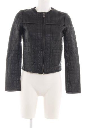 Zara Basic Leren jack zwart quilten patroon casual uitstraling