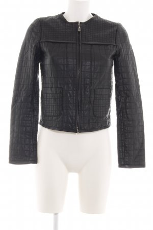 Zara Basic Lederjacke schwarz Steppmuster Casual-Look