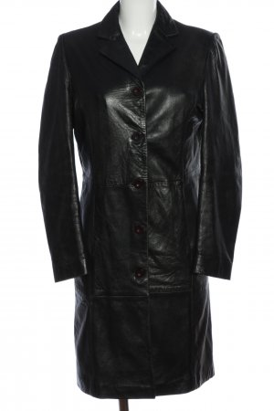 Zara Basic Leather Coat black casual look
