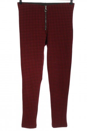 Zara Basic Leggings rot-schwarz Karomuster Casual-Look
