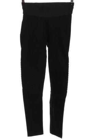 Zara Basic Leggings schwarz Streifenmuster Casual-Look