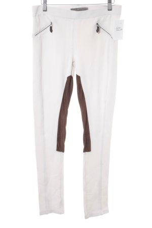 Zara Basic Leggings weiß-braun Casual-Look