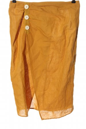 Zara Basic Lniana spódnica jasny pomarańczowy W stylu casual