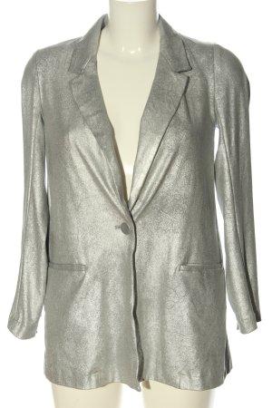 Zara Basic Long-Blazer silberfarben Glanz-Optik