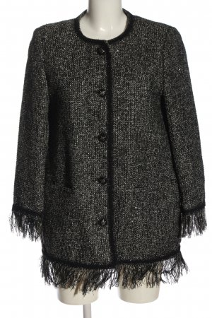 Zara Basic Long-Blazer schwarz-weiß meliert Casual-Look