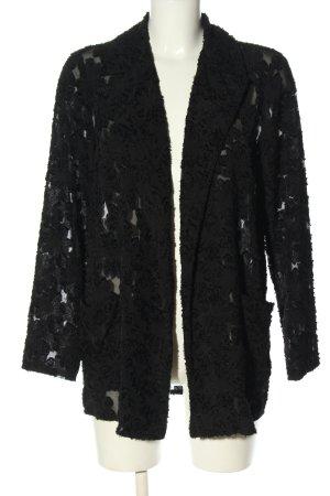 Zara Basic Long-Blazer schwarz grafisches Muster Casual-Look
