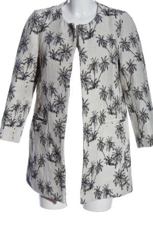 Zara Basic Long-Blazer weiß-schwarz Allover-Druck Casual-Look