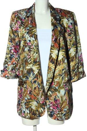 Zara Basic Long-Blazer abstraktes Muster Casual-Look