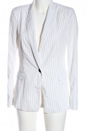 Zara Basic Long-Blazer weiß-schwarz Allover-Druck Business-Look