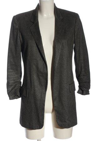 Zara Basic Long-Blazer hellgrau Streifenmuster Business-Look