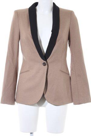 Zara Basic Long-Blazer beige-schwarz Casual-Look