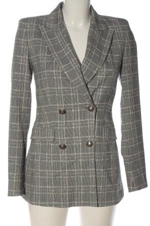 Zara Basic Long-Blazer hellgrau-weiß Karomuster Business-Look