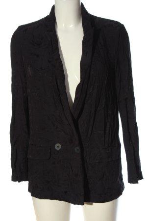 Zara Basic Long-Blazer schwarz Blumenmuster Business-Look