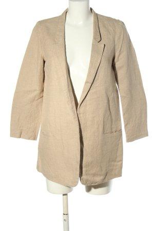 Zara Basic Long-Blazer wollweiß meliert Casual-Look