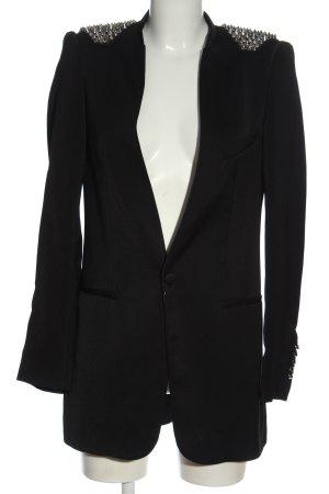 Zara Basic Long-Blazer schwarz-silberfarben Casual-Look