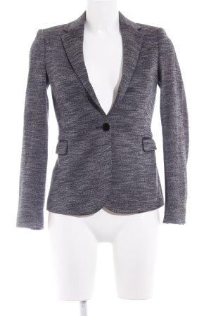 Zara Basic Long-Blazer grau-weiß meliert Business-Look