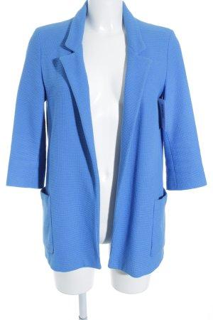 Zara Basic Long-Blazer neonblau-weiß Webmuster Business-Look