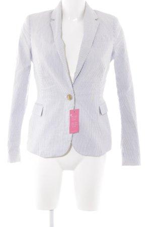 Zara Basic Long-Blazer weiß-graublau Streifenmuster Casual-Look