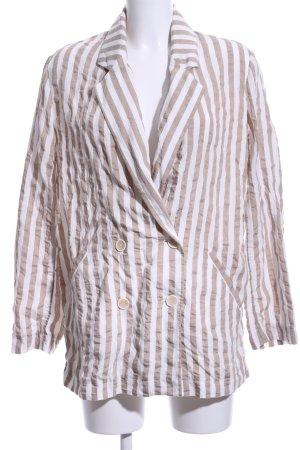 Zara Basic Long-Blazer wollweiß-beige Streifenmuster Business-Look