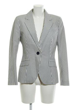Zara Basic Long-Blazer wollweiß-dunkelblau Streifenmuster Business-Look
