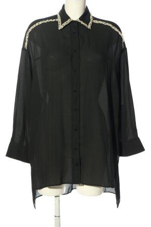 Zara Basic Long-Bluse schwarz-weiß Casual-Look