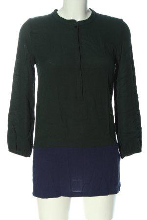 Zara Basic Long-Bluse khaki-blau Casual-Look