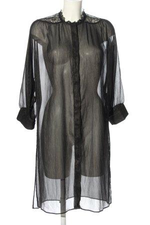 Zara Basic Long-Bluse schwarz Transparenz-Optik