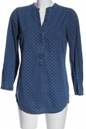 Zara Basic Long-Bluse blau Allover-Druck Casual-Look
