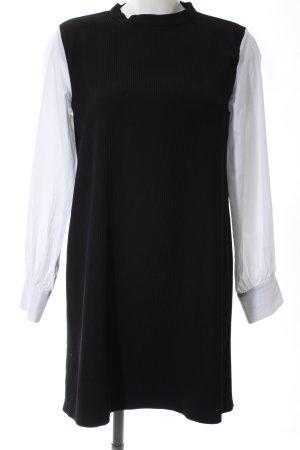 Zara Basic Long-Bluse schwarz-weiß Streifenmuster Business-Look