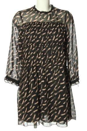 Zara Basic Long-Bluse schwarz-nude Allover-Druck Elegant