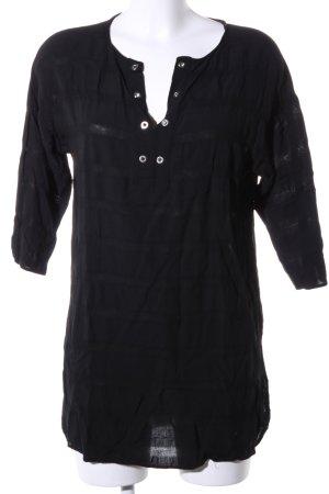 Zara Basic Long-Bluse schwarz Streifenmuster Casual-Look