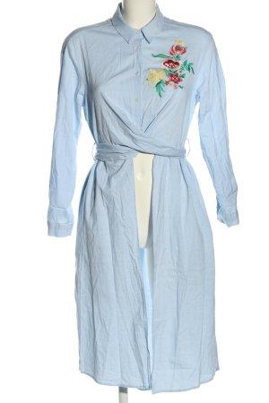 Zara Basic Camicetta lunga blu motivo floreale stile casual