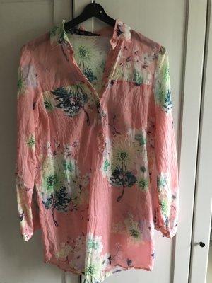 Zara Basic Long Bluse geblümt transparent