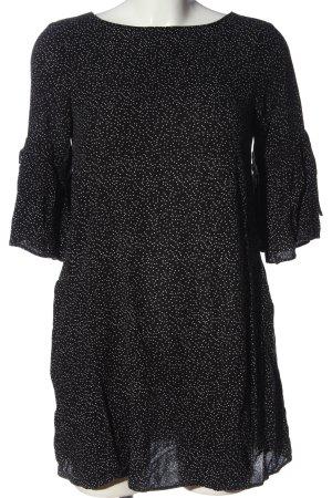 Zara Basic Long-Bluse schwarz-weiß abstraktes Muster Casual-Look