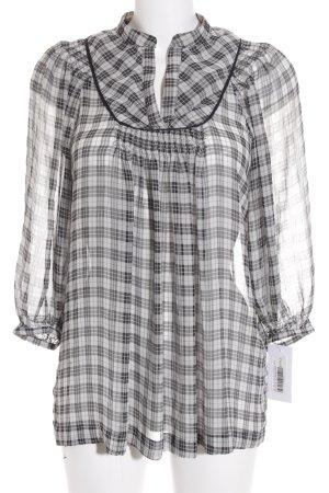 Zara Basic Long-Bluse schwarz-weiß Karomuster Transparenz-Optik